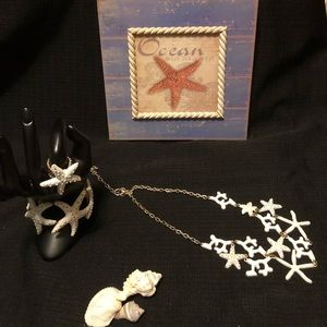 White Starfish Gold Plated Fun Jewelry Set